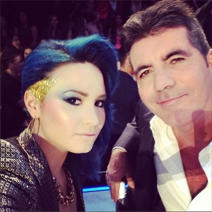 Celebrity Hairstyles Demi Lovato S Rockstar Blue On The X Factor