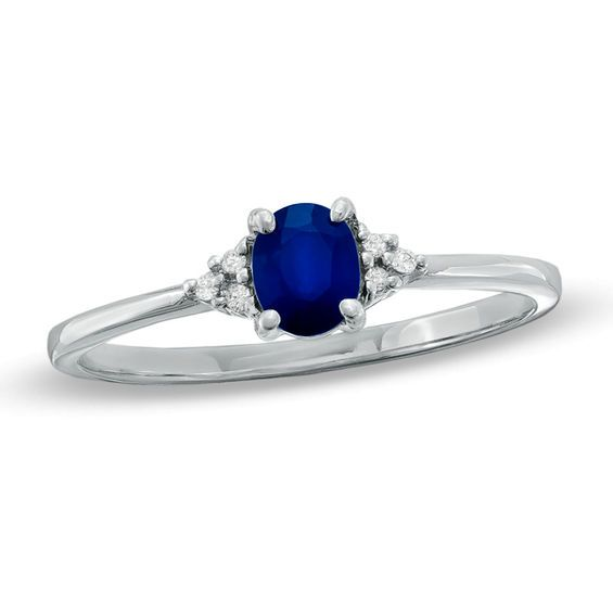 Oval Blue Sapphire And Diamond Accent Ring In 10k White Gold White Gold Stylish Rings Rings