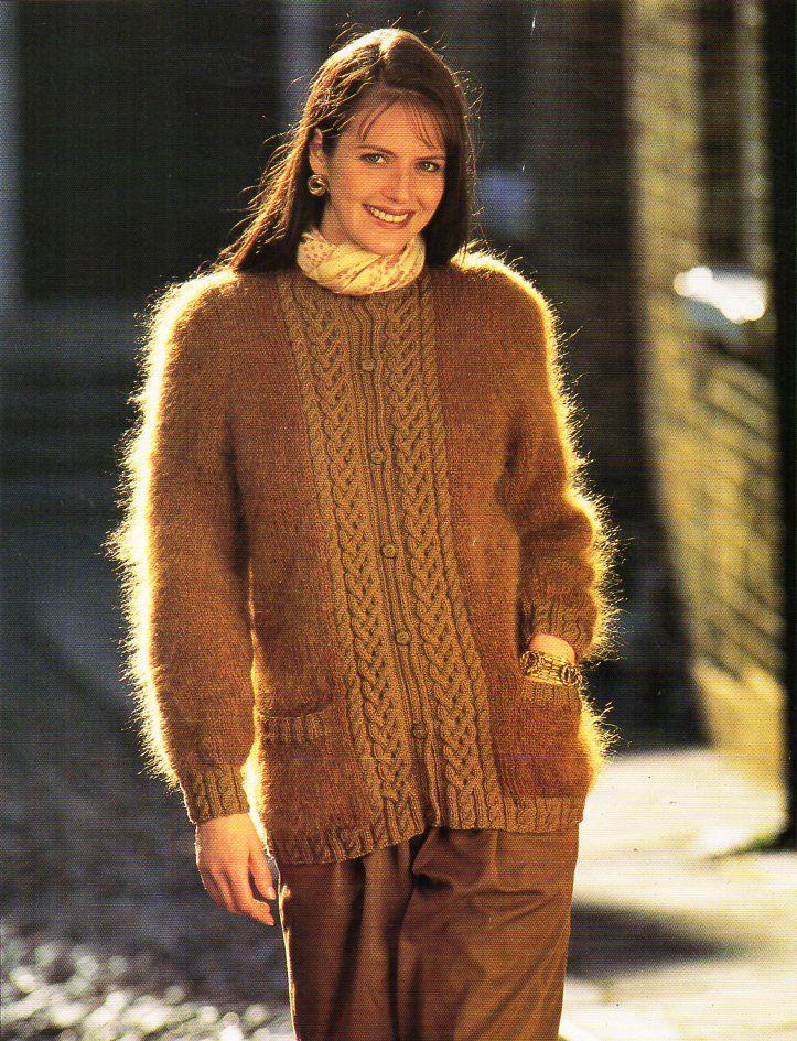 womens mohair cardigan knitting pattern pdf download ladies long ...