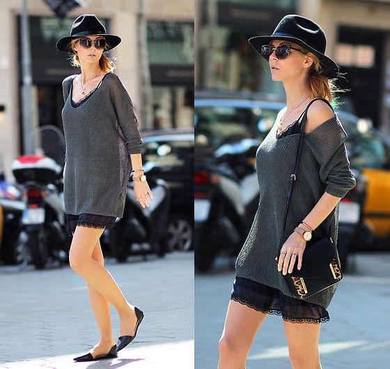 Chicnova Fine Knit, Zara Lingerie Style Dress, Zara Flats, Zara Mini Bag, H&M Hat
