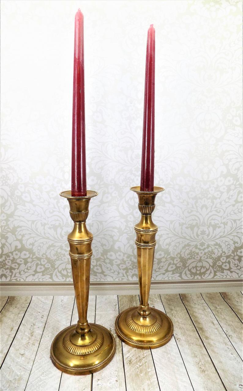Andrea Brass Candlestick Holders Pair Of French Design Taper Stands Round Stair Step Bases Dot Accents Vintage Candle Holders Vintage Candles Vintage Candle Holders Candlestick Holders