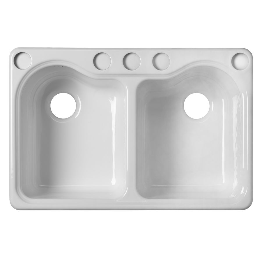 ordinary Enameled Cast Iron Undermount Kitchen Sink Part - 8: Shop KOHLER Hartland Double-Basin Undermount Enameled Cast Iron Kitchen Sink  at Lowes.com