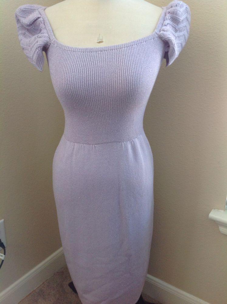 VTG St. John Collection Lavender Purple Knit Dress Size 0 2 #StJohn #Sheath #Cocktail