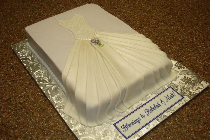 Pleated Wedding dress 114F Bridal Shower cake