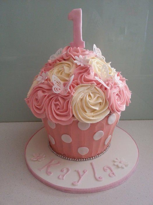 1st Birthday Pink White Themed Giant Cupcake All Edible