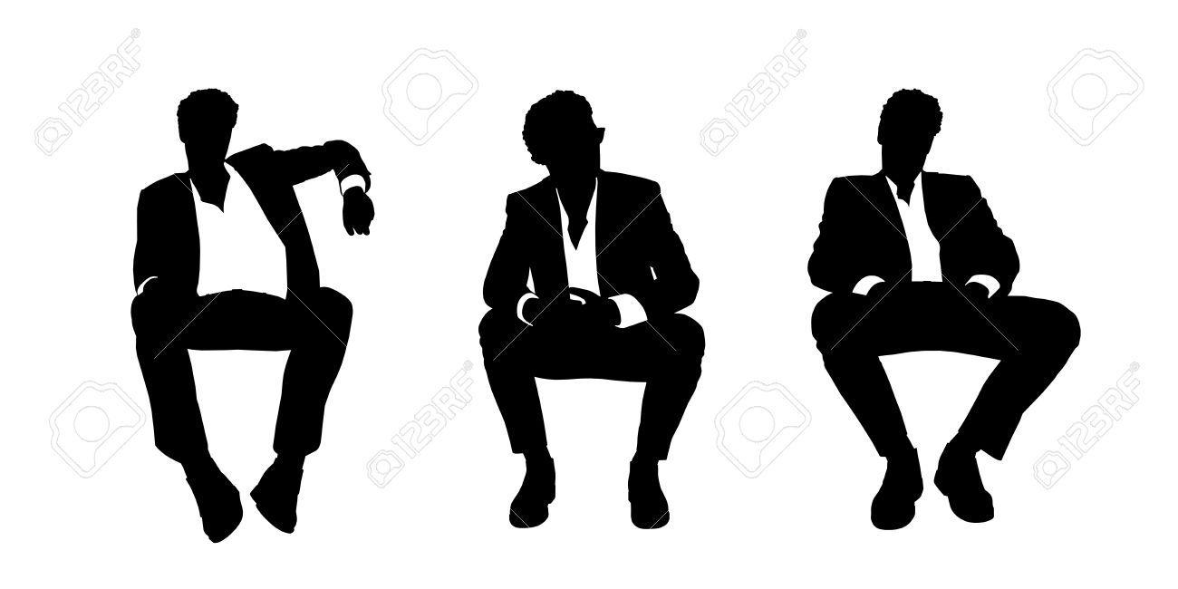 Siluetas En Blanco Y Negro De Un Joven Apuesto Hombre De