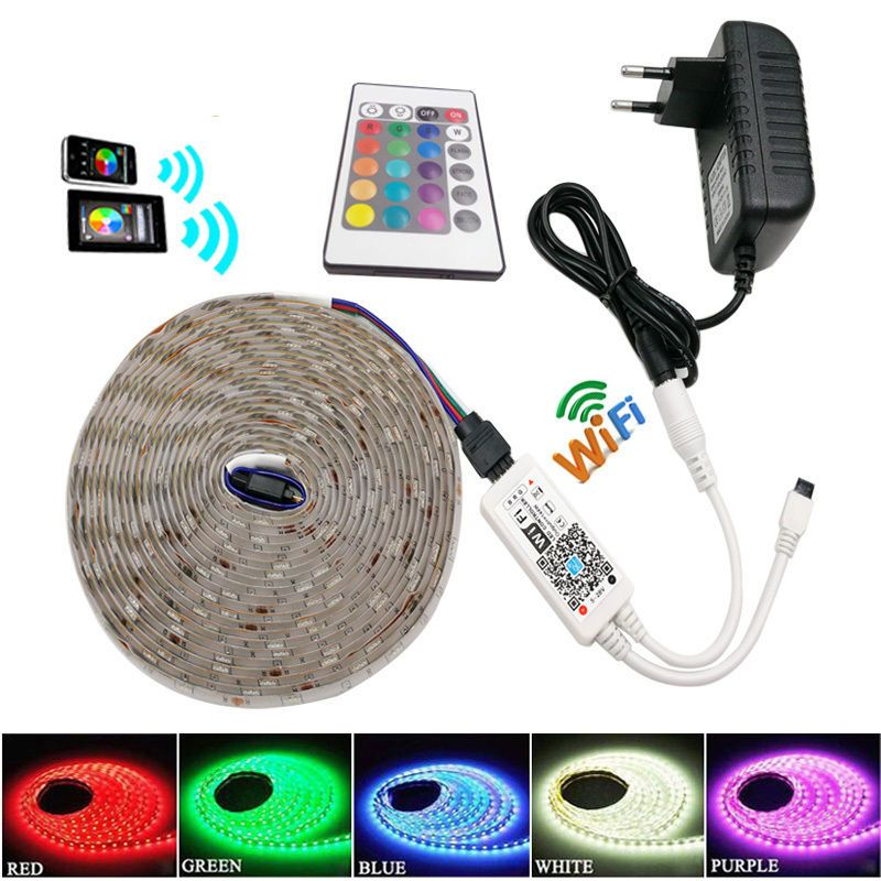 7 61 1 10m Rgb 5050 Smd Waterproof 30led M Light Strip Wifi Ir Remote 12v Power Ebay Home Garden Strip Lighting Led Light Strips Lamp Light