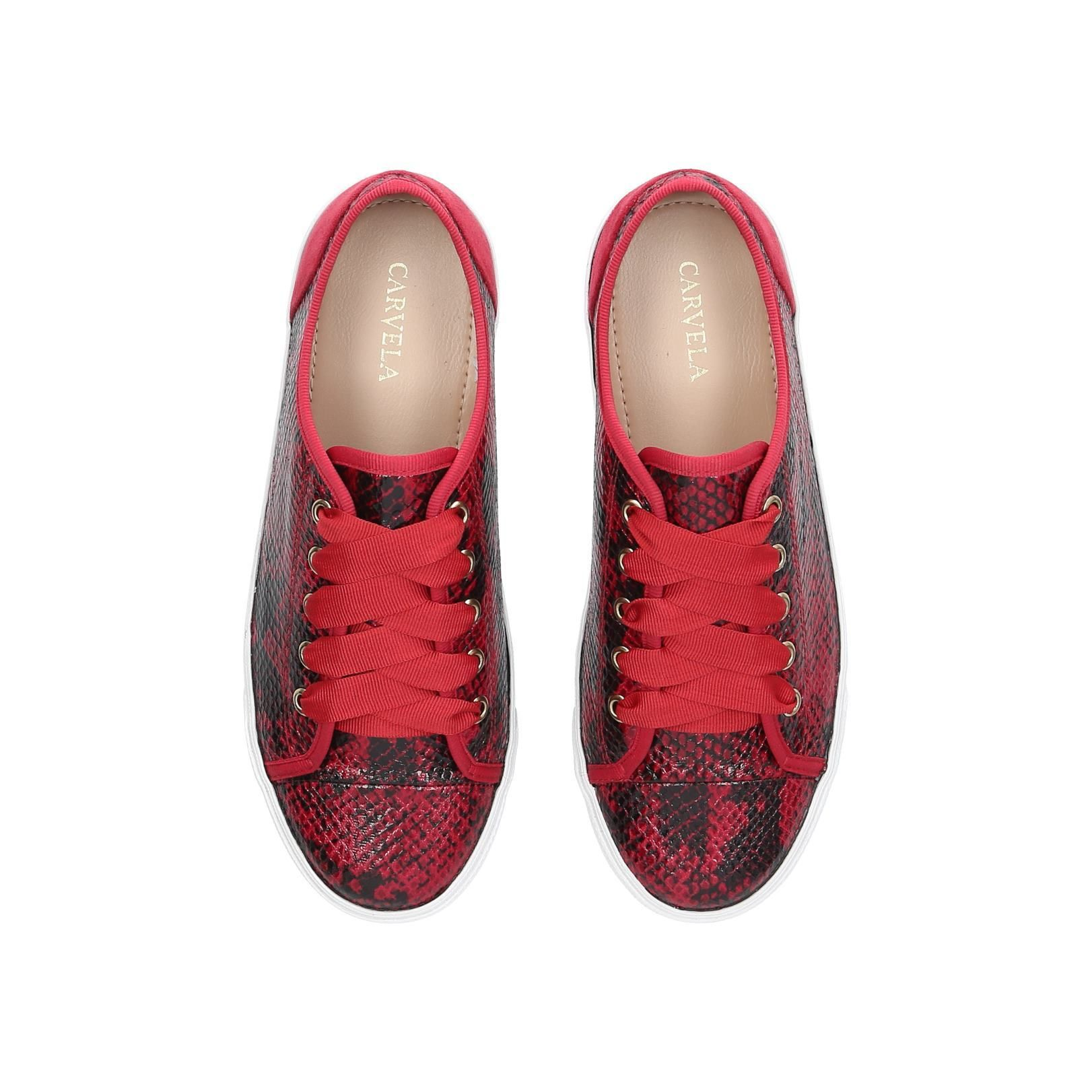 Jasper Red Snakeprint Low Top Trainers