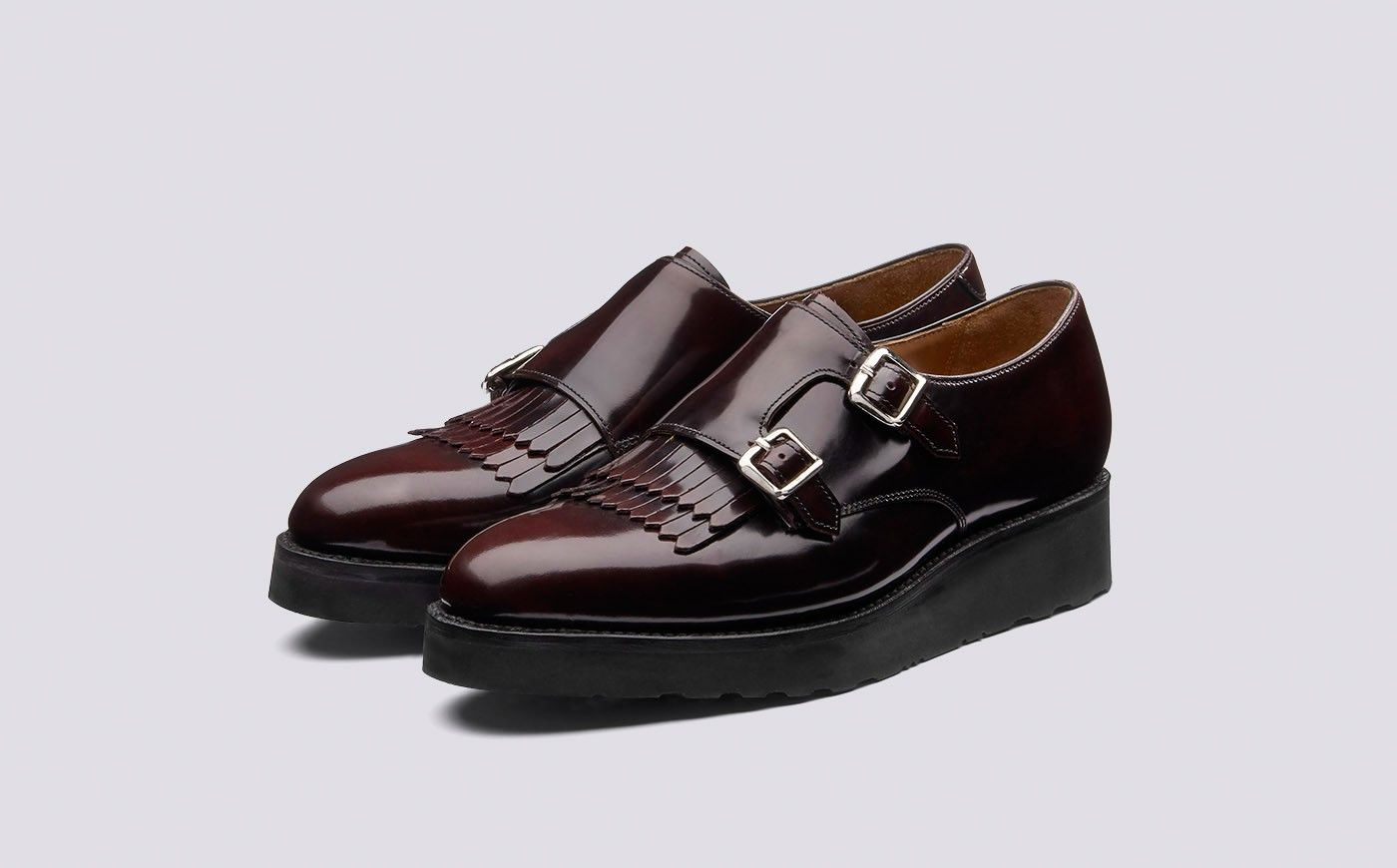 Audrey | Womens Monk Strap Shoe in Burgundy Gloss Leather with a Black  Wedge Sole