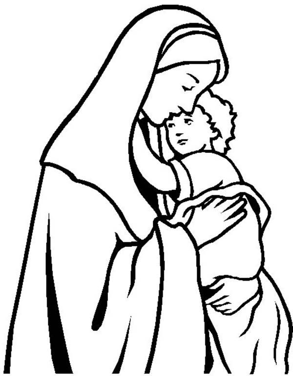 Mary Keep Baby Jesus Warm Coloring Page Kids Play Color Jesus