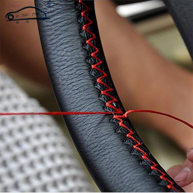 DIY 스티어링 휠 커버/매우 부드러운 가죽 브레이드 스티어링 휠 자동차 바늘 및 스레드 인테리어 액세서리