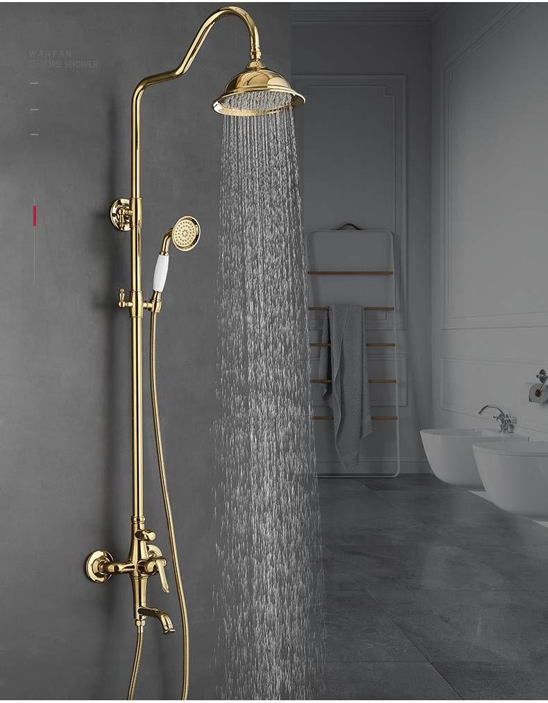 Bath Shower Sets Luxury Gold Brass Shower Faucet Set Single Handle Single Holder Dual Control Bathtub Mixer Hand Shower Shower Faucet Sets Shower Faucet Shower Bath [ 1014 x 790 Pixel ]