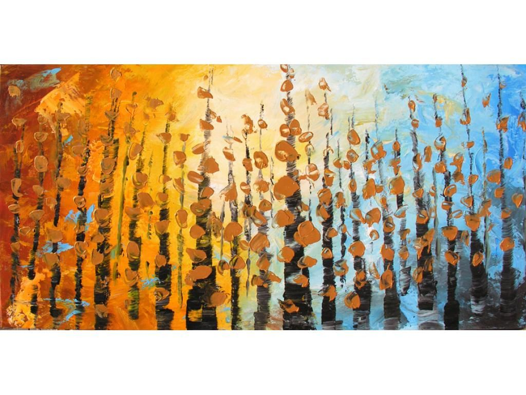 Whispering Leaves 45 x 23 Original Oil Modern Contemporary Home ...