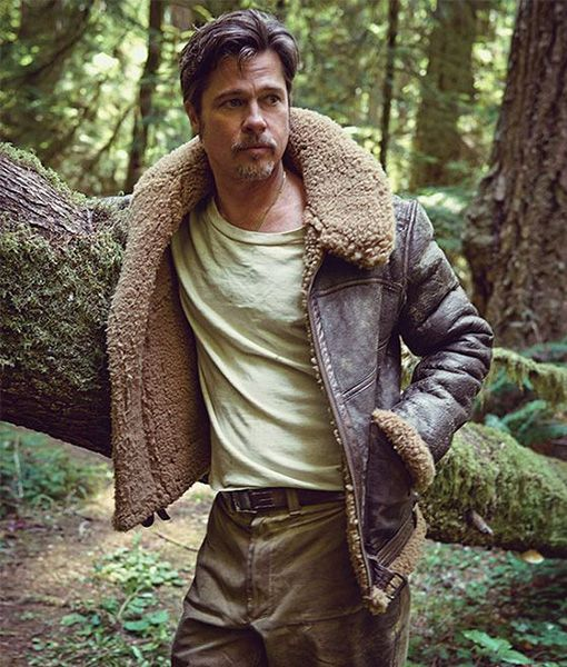 Brad Pitt Shearling Jacket   Brown Sheepskin Jacket is part of Mens fashion rugged - Specifications Material Real Leather Inner Faux Shearling Front Full Zipper Closure Closure Waist Belt Closure Color Brown Cuffs Style Openhem cuffs Pockets Two Side Pockets Collar Style Shirt Style Collar