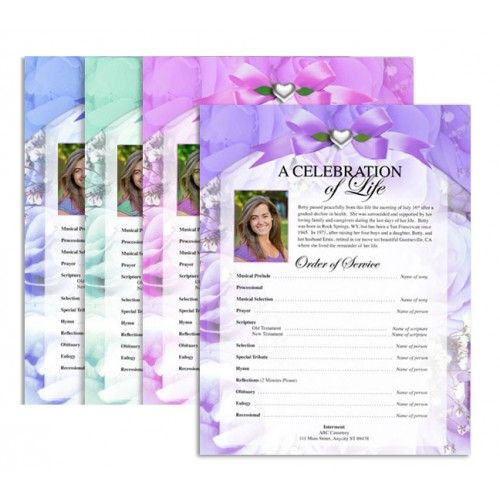 Rapture Letter Single Fold Funeral Program Template  Celebration