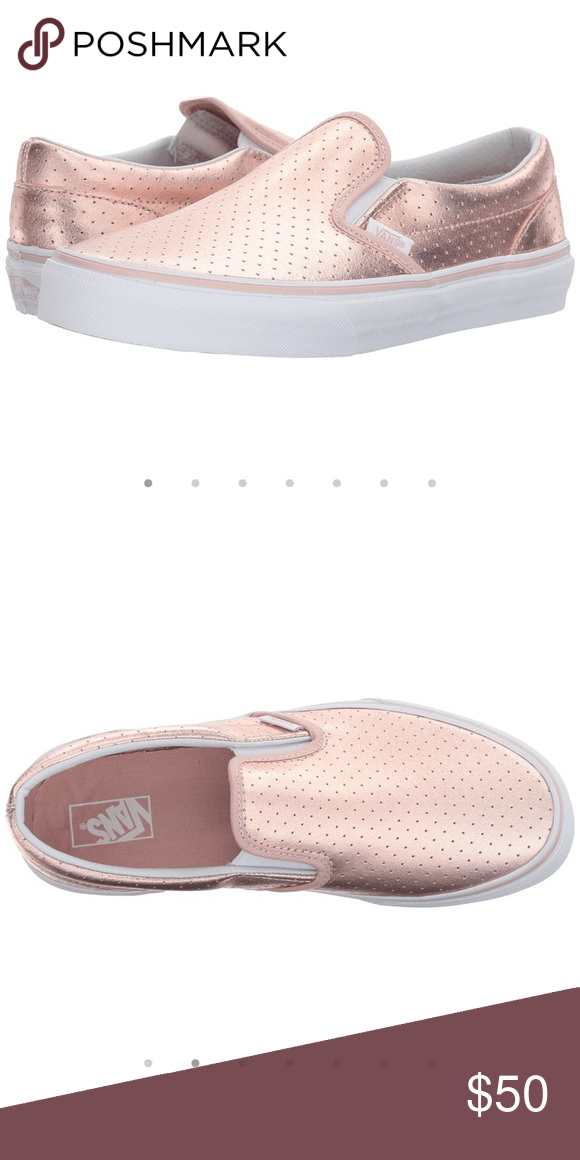 03684acb19c5 vans leather perforated rose gold slip on Girls size 4