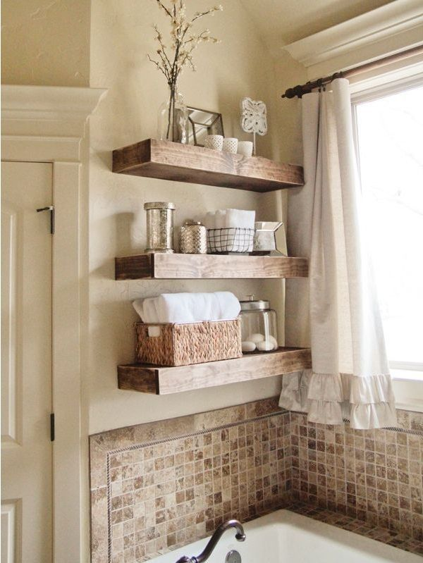 fabulous shelf on bathroom counter | 20 Fabulous DIY ideas for Home Shelving | Home, Diy home ...