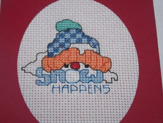 Completed cross stitch card Snowman//Cross Stitch by CraftyDaisey, $6.00