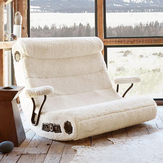 Pleasing Ivory Sherpa Faux Fur Double Got Game Speaker Media Chair Unemploymentrelief Wooden Chair Designs For Living Room Unemploymentrelieforg