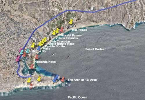 Cabo San Lucas Beach Cabo San Lucas Hotel Map Aerial