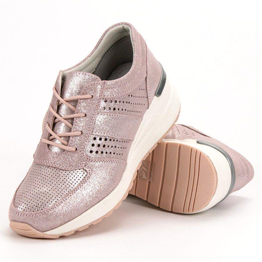 Filippo Skorzane Sneakersy Na Koturnie Rozowe Baby Shoes Shoes Fashion