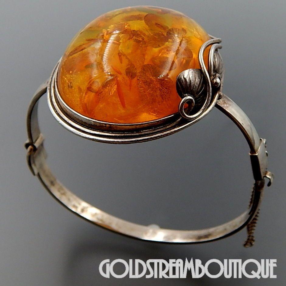 Vintage Sterling Silver and Amber Bracelet Oval
