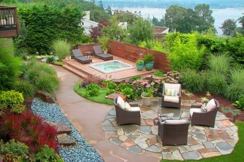 Backyard Ideas With Hot Tub stone patio and open wooden deck design with a jacuzzi spacious yard landscaping ideas Hot Tub Landscaping Ideas Pictures Google Search