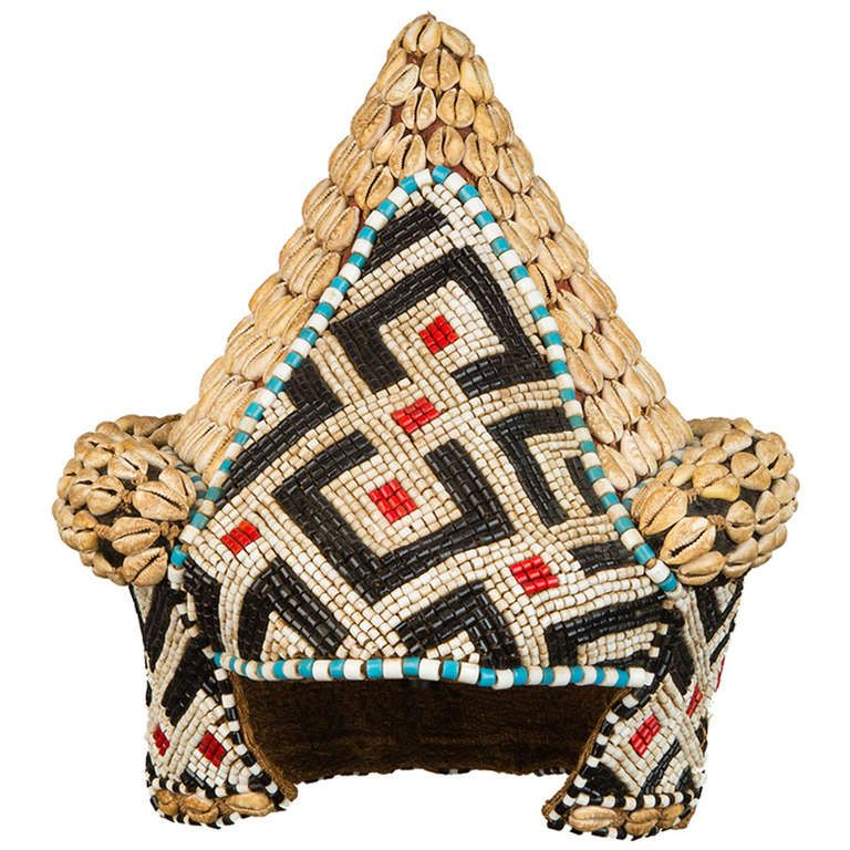 Kuba Beaded Hat | From a unique collection of antique and modern tribal art