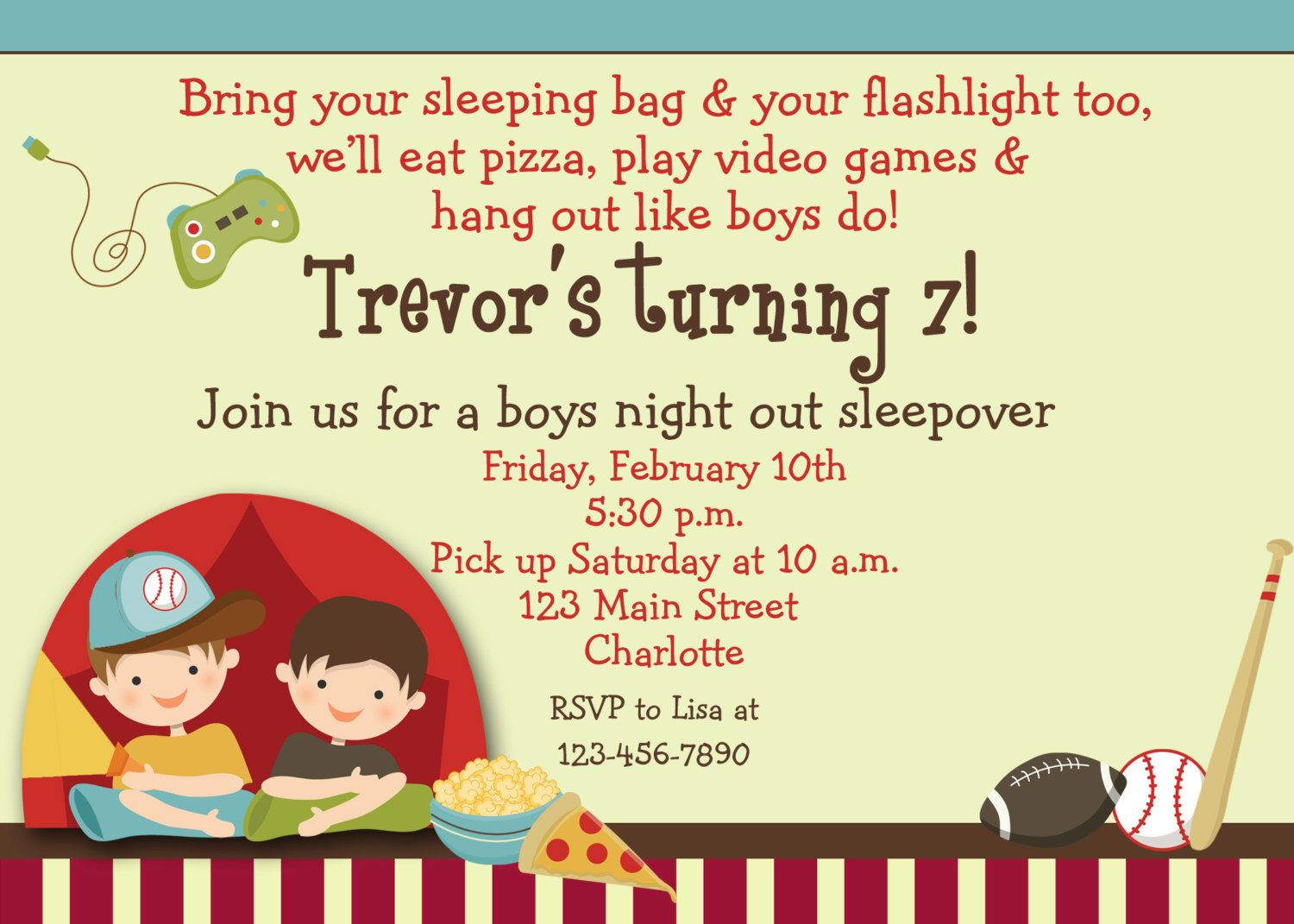birthday invitations free sleepover – Boy Party Invitations