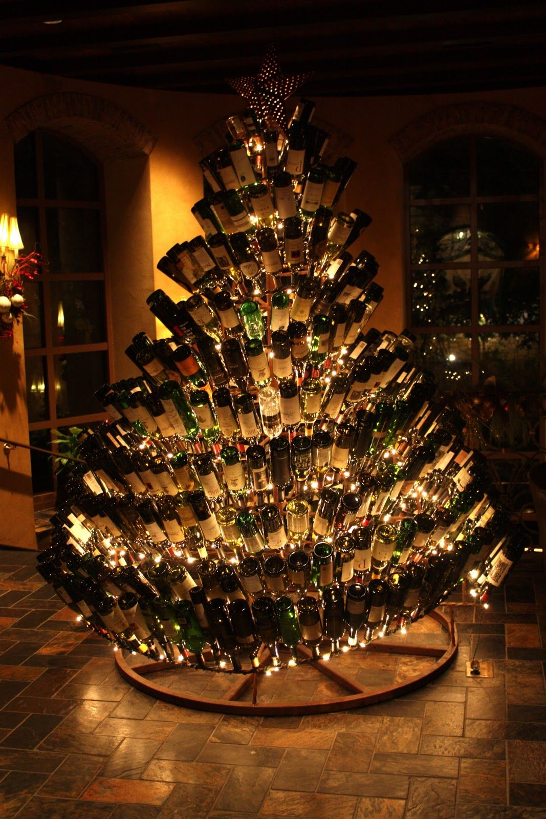 Christmas tree of wine. I am doing this next year!!