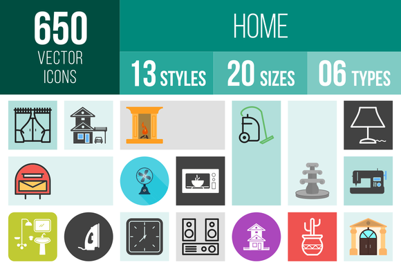 650 Home Icons  @creativework247
