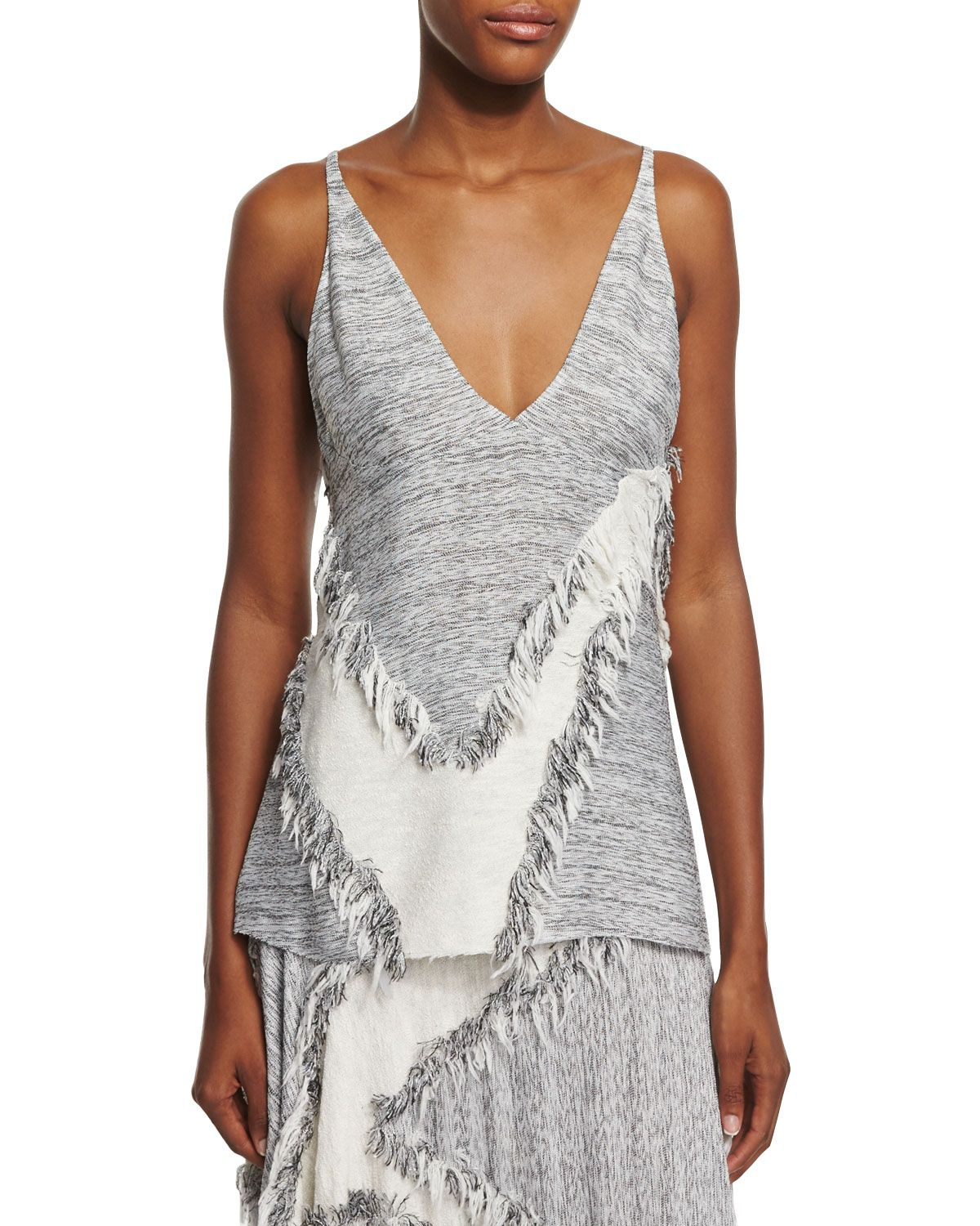 Hopsack Fringe-Trim Sleeveless Blouse, Gray Melange, Size: 38 IT (2 US), Grey Melange - Derek Lam