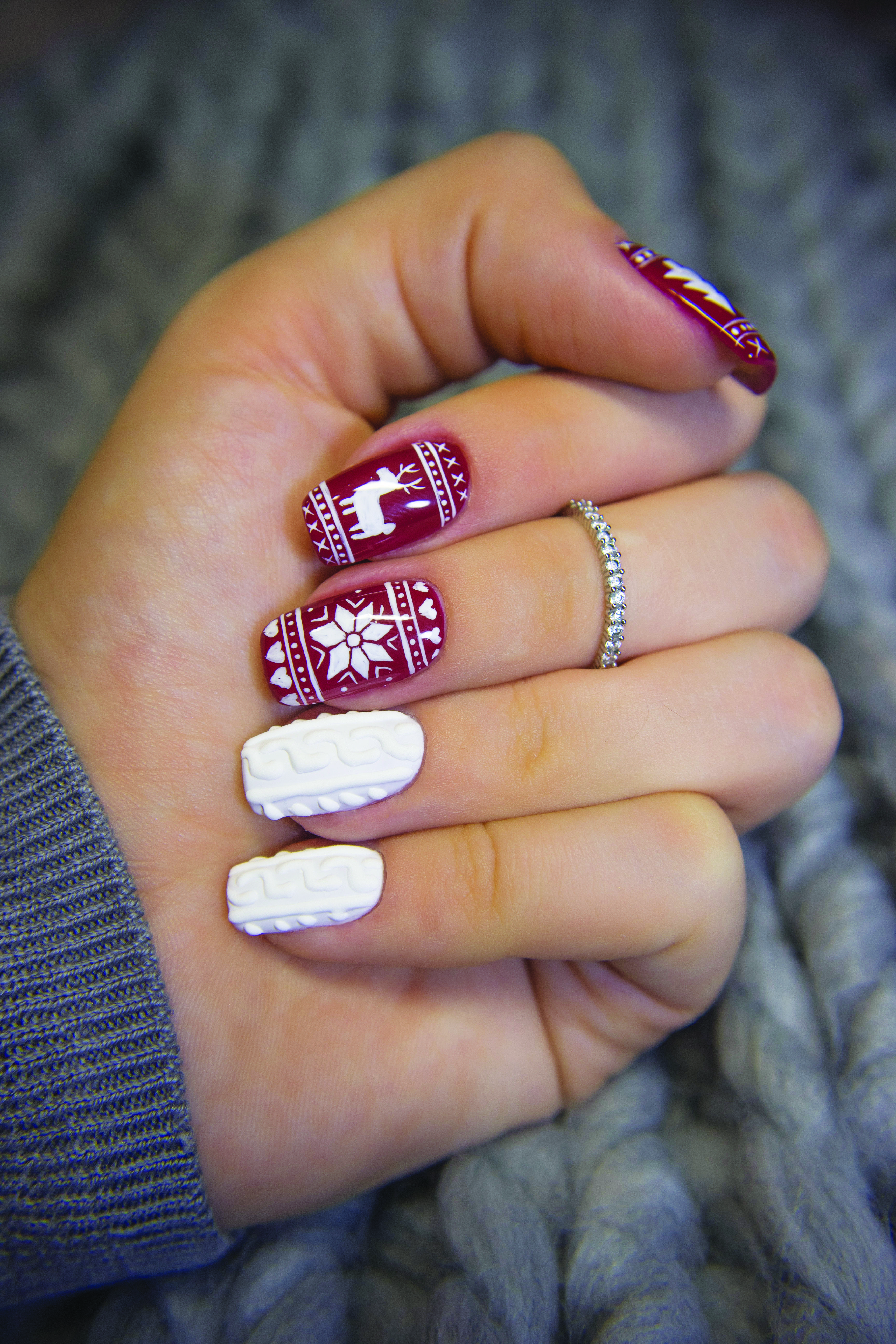 Sweater Weather Nail Art Cozy cardigans and ugly C