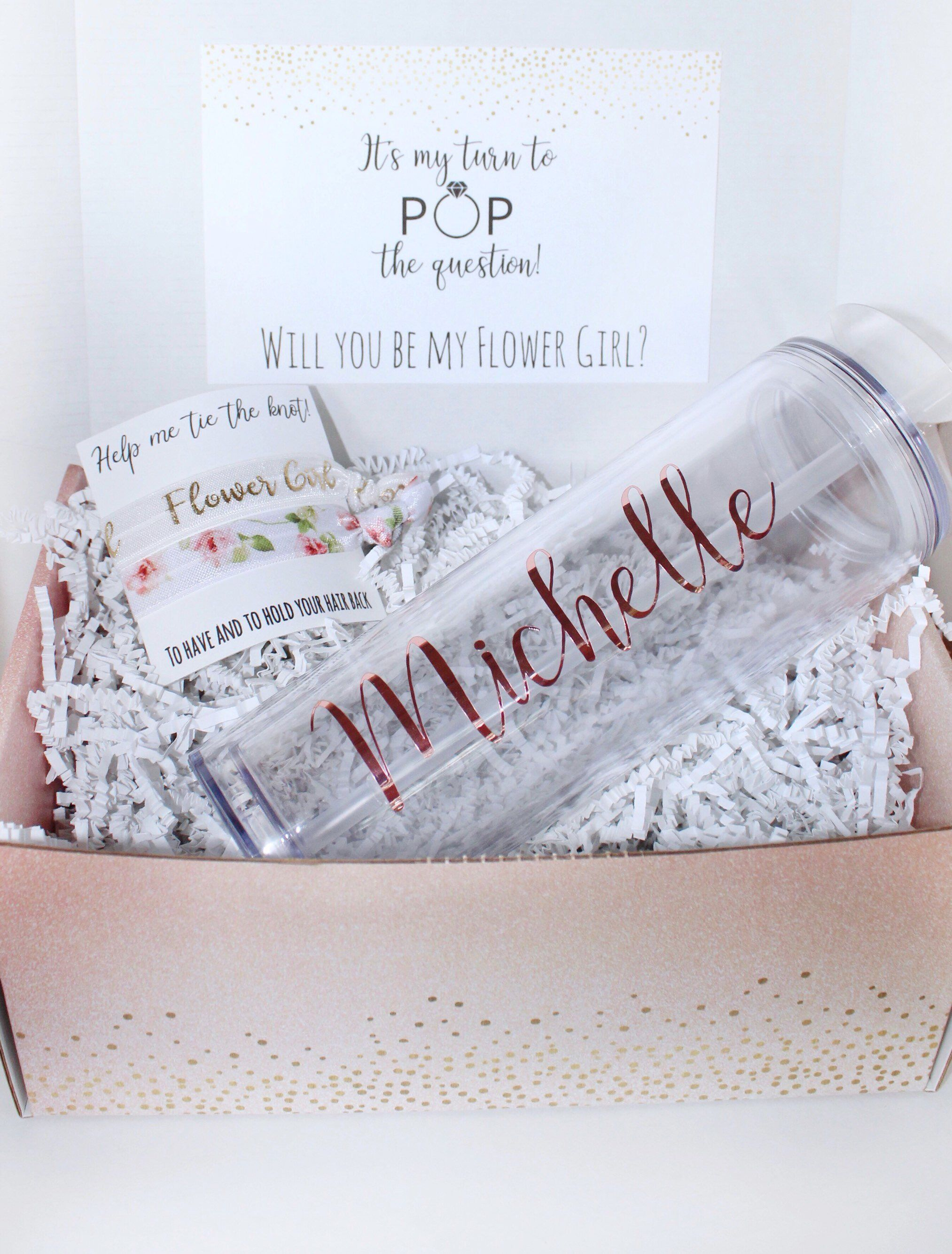 Flower girl proposal box custom tumbler box set by