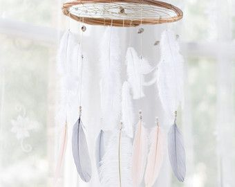 Weiße Dreamcatcher Mobile White Dream Catcher von HippiebyViki