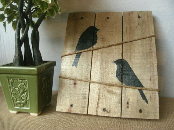 Birds on a wire bird wall decor rustic reclaimed pallet wood bird