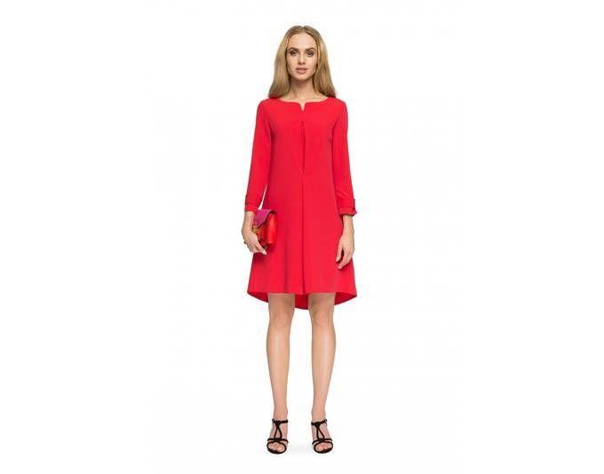 Clea Vokuhila Kleid mit nach hinten abfallendem Saum ,Farbe: Rot ...
