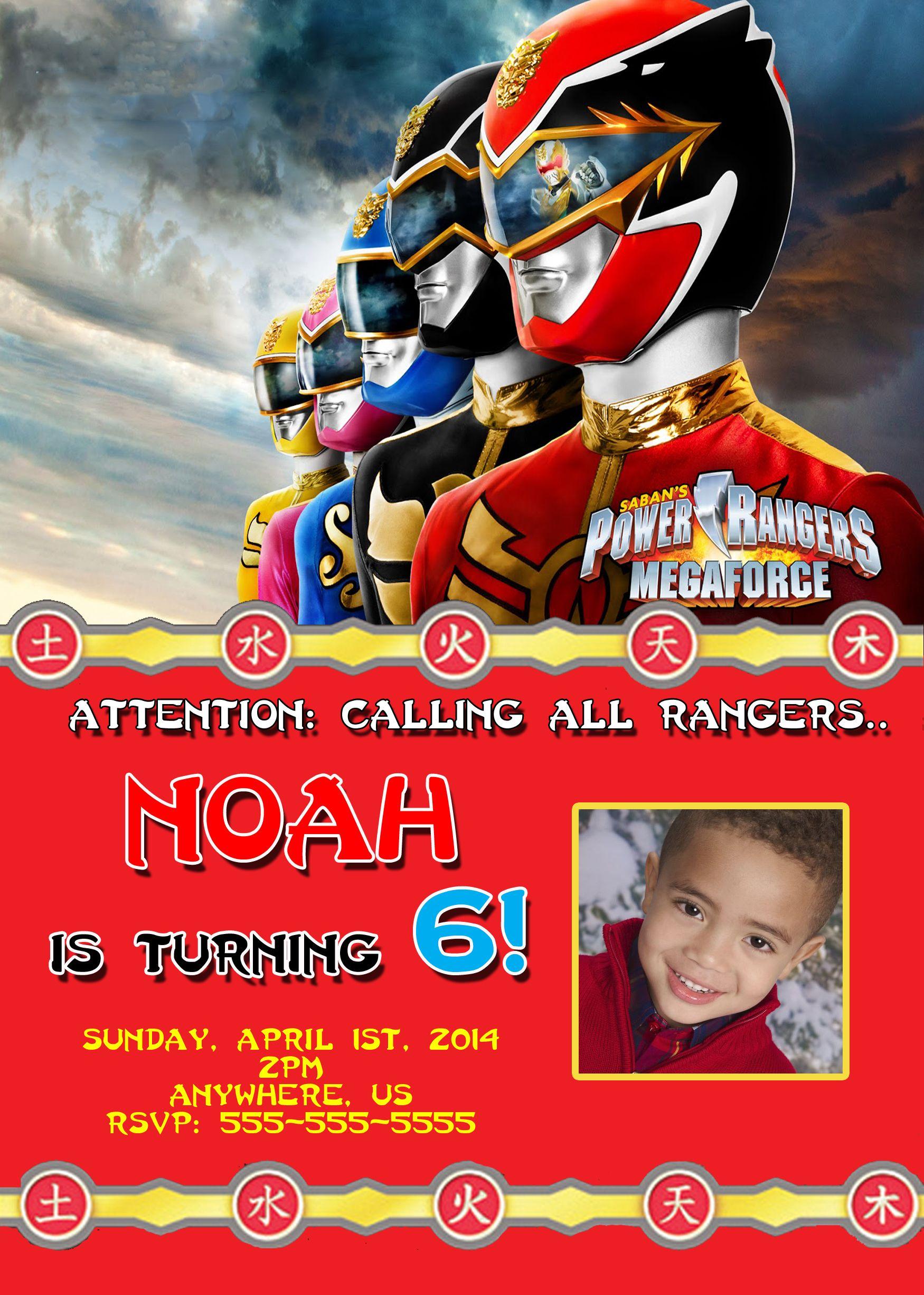 Power Rangers Mega Force Birthday Invitations 899