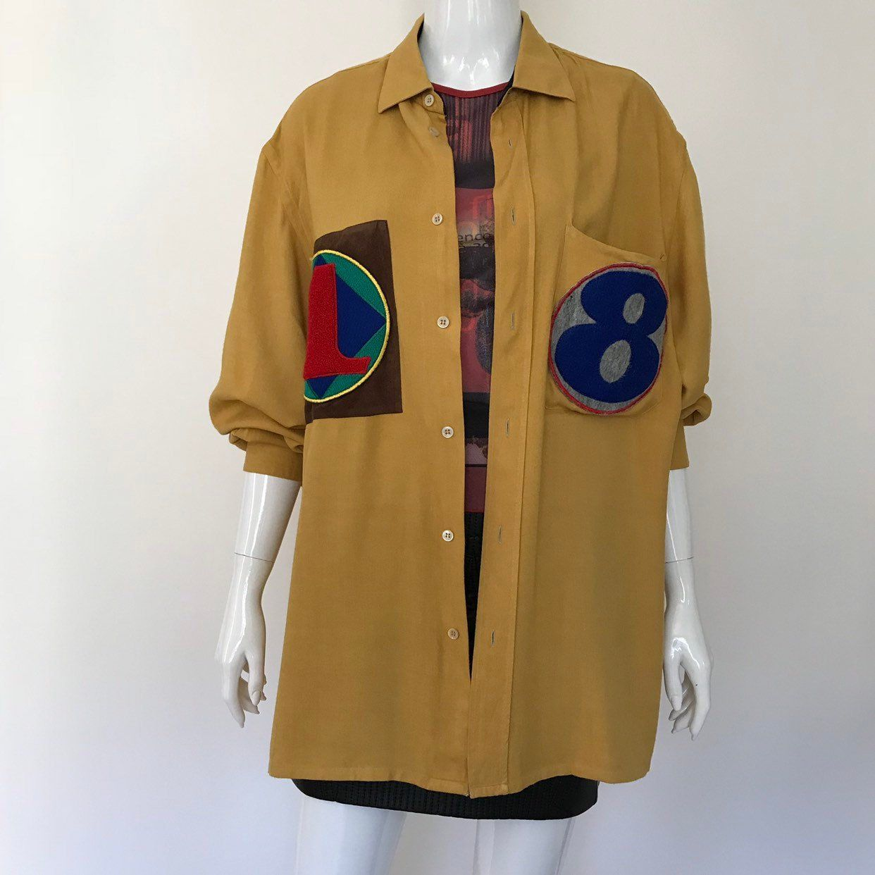 d2f82957792342 RARE   Gianfranco Ferre   90s designer shirt   shirt with patch   mustard  shirt   by LOFTOWN on Etsy