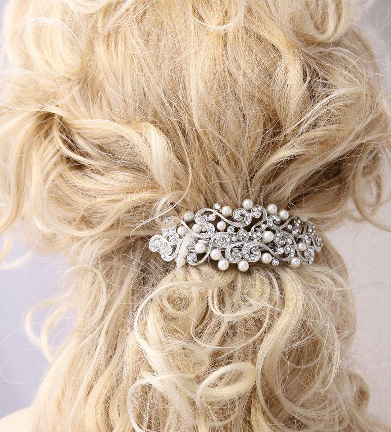 Crystal Pearl Hair Barrette Bridal Wedding Accessory Old Hollywood Great Gatsby Clip