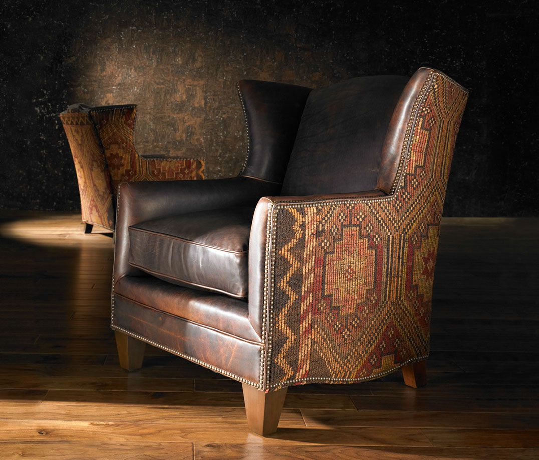 Southwest style leather & Santa Fe upholstery design chair ...