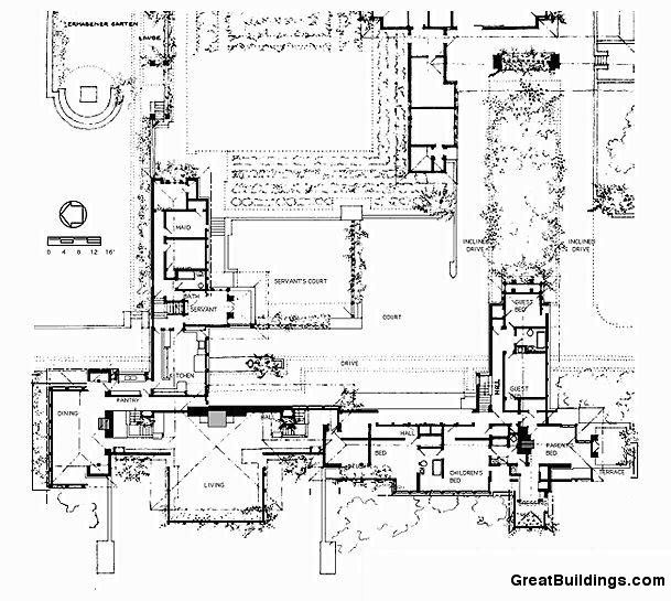Great Buildings Drawing Coonley House Frank Lloyd Wright Blueprint Construction Classic House
