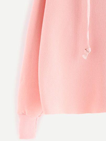 Pink Drawstring Hooded Sweatshirt