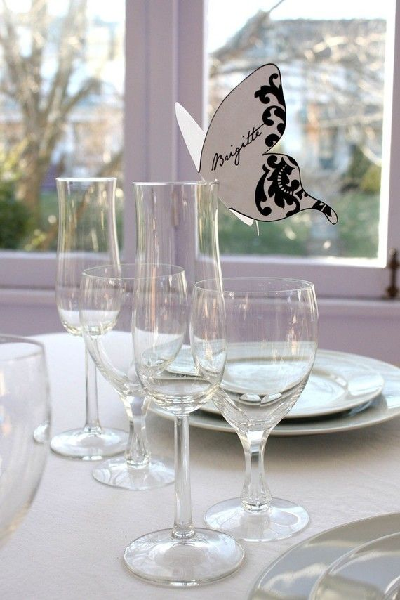 Damask Butterfly Place cards Black Print As Many by ThePoshEvent