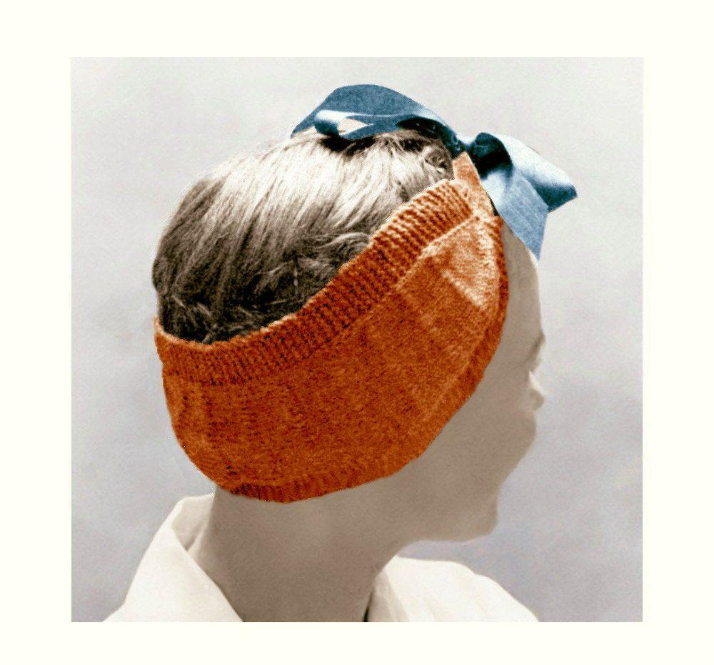 Vintage 50s Pin Up Head Wrap Scarf Headband Knitting Pattern PDF ...