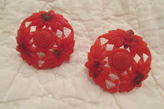 Antique Drapery Pins set of 2 poinsettia flowers 1 by rarefinds4u