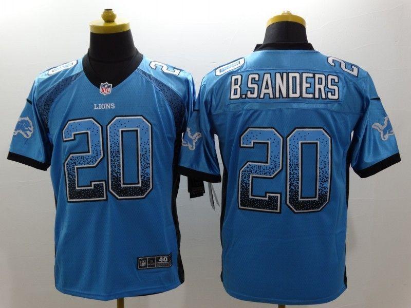 Detroit Lions 20 B-Sanders Drift Fashion Blue Nike Elite Jerseys ... 40adb33af