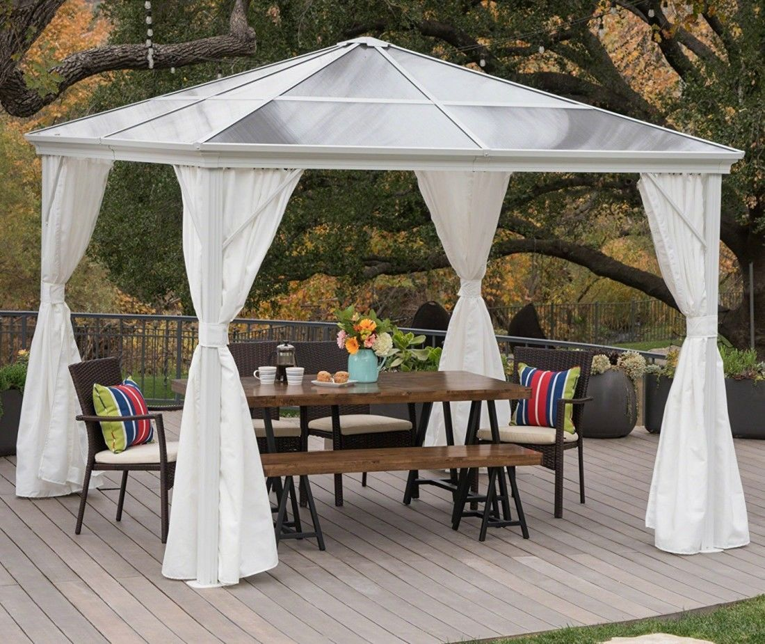 Hard Top Gazebo Large Metal Canopy 10x10 Screened Curtain