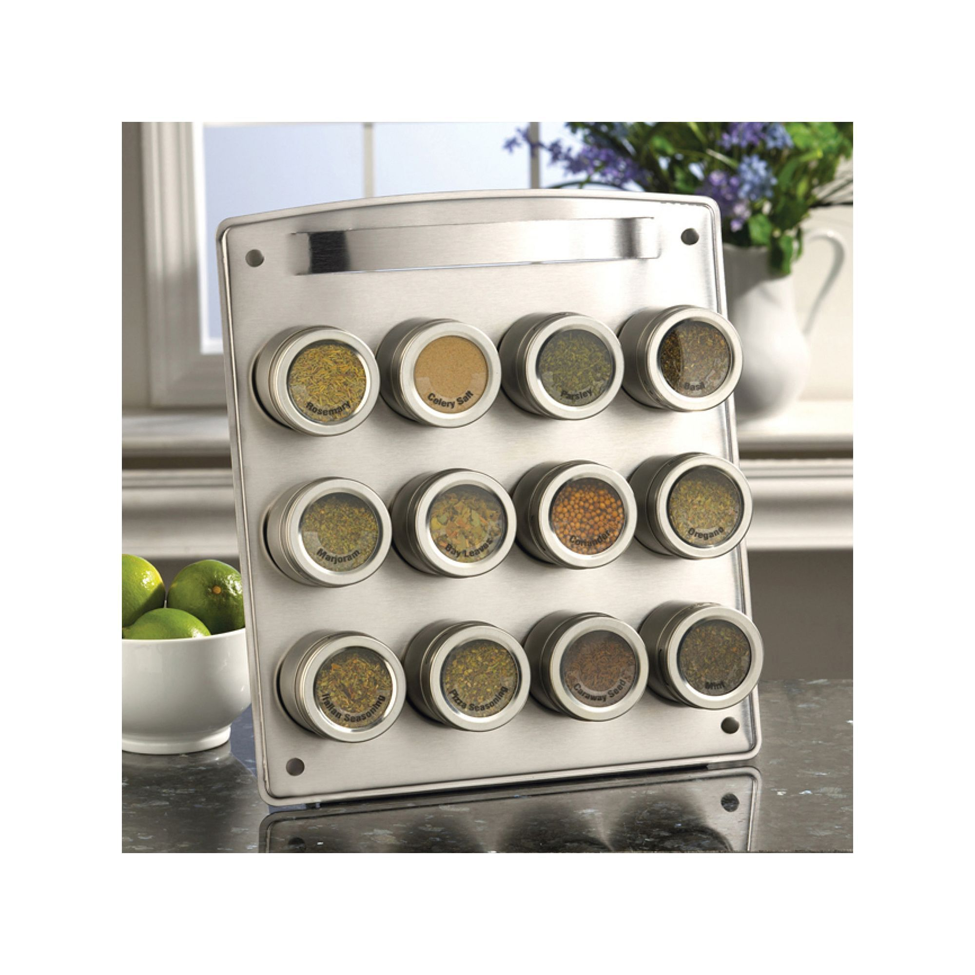 Kamenstein Magnetic 12-Tin Magnetic Spice Rack, Silver | Magnetic ...