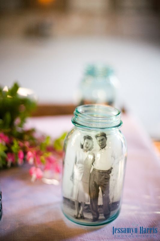 Reception Idea Mason Jar Photo Place Wedding Pictures Of Your Parents And Or With Images 60th Wedding Anniversary Party 65th Wedding Anniversary 50th Anniversary Party